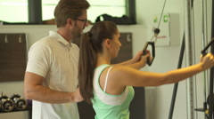 Rehabilitation training on fitness machine Stock Footage