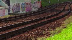 Railroad. Electric train rides at high speed under the bridge. Stock Footage