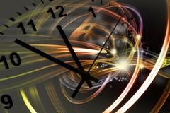 Hands of clock pointing to twelve, space background Stock Illustration