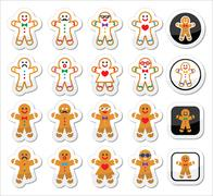 Gingerbread man Christmas icons set - stock illustration