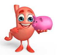 Cartoon character of stomach with piggy bank Piirros
