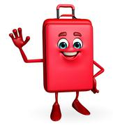 travelling bag chatacter with hello pose - stock illustration