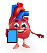 Heart character with mobile Stock Illustration