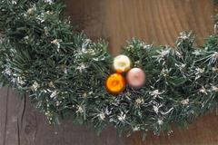 advent wreath on wooden table - stock photo