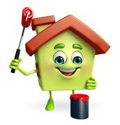 house character is painting - stock illustration