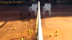 Tennis court before the game.Balls on the tennis court. Stock Footage