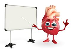 Heart character with display board Stock Illustration
