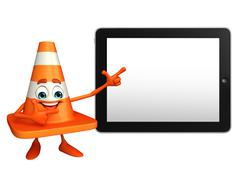 Stock Illustration of construction cone character with tab