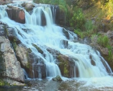 Time lapse of beautiful waterfall in forest, natural landmark, click for HD Stock Footage