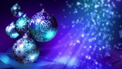 Christmas background loop. Blue, silver, purple Christmas balls and snowflakes. Stock Footage
