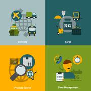 Logistic flat icons composition Stock Illustration