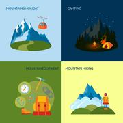 Camping icons set flat - stock illustration