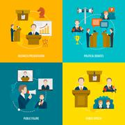 Public speaking flat set - stock illustration