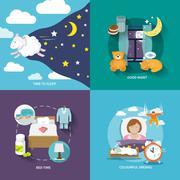 Sleep time icons flat Stock Illustration