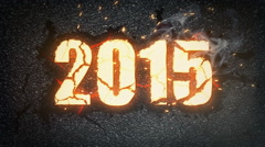 2015 New Year celebration background. Burning gold numbers, able to loop Stock Footage