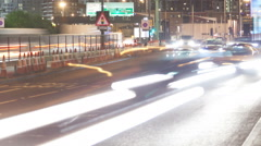 London Canary Wharf Motorway DLR Winter Night Stock Footage