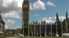 London Westminster Big Ben Traffic Stock Footage
