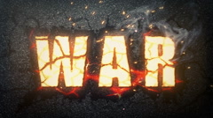 War. Symbolic burning sign on the black background Stock Footage