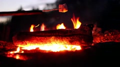 Roasting And Catching Marshmallows On Fire Stock Footage