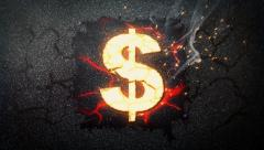 Currency symbol. Gold burning US Dollar. Stock Footage