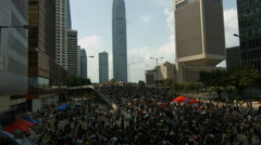 Hong Kong Protesters on bridge Stock Footage