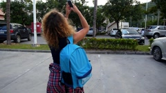 Young Girl Take Photo with Mobile Phone Outdoor. Stock Footage