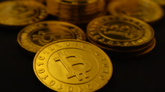 Bitcoins flyover 24P Stock Footage