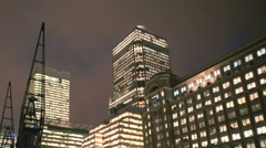 London Canary Wharf Low Angle Winter Night Time Lapse Stock Footage