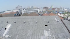 Aerial View from broken roof - stock footage