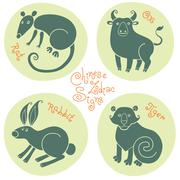 Stock Illustration of Set signs of the Chinese zodiac.