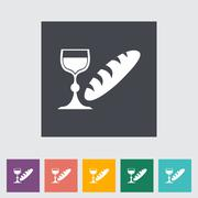 Bread and wine single flat icon. - stock illustration