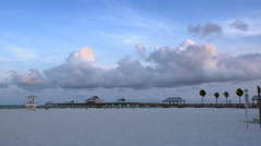 Clearwater beach pier and lifeguard station Stock Footage