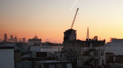 London Rooftop Shard Gurken London Eye Winter Morning Stock Footage