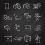 Photo video icons chalkboard - stock illustration