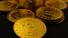 Bitcoins fly over 30P Stock Footage
