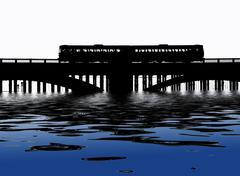 Train crossing bridge Piirros