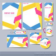Origami folded lines background design for corporate identity set Stock Illustration