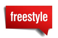 freestyle red 3d realistic paper speech bubble - stock illustration