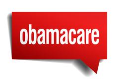 obamacare red 3d realistic paper speech bubble - stock illustration