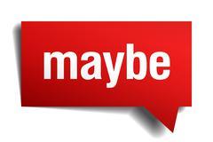 maybe red 3d realistic paper speech bubble - stock illustration
