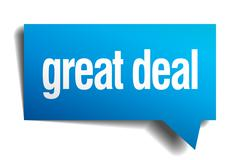 Stock Illustration of great deal blue 3d realistic paper speech bubble