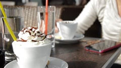 Drinking coffe in the bar Stock Footage