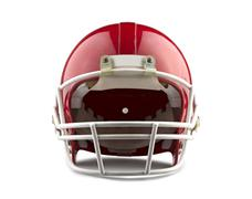 red american football helmet isolated on a white background with detailed cli - stock photo