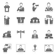 Public Speaking Icons Stock Illustration