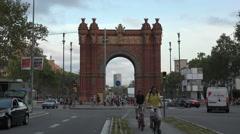 Barcelona Spain Arc De Trimof busy fast motion 4K 090 Stock Footage