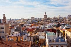 View of the historical center of valencia from an observation deck of the cat Stock Photos