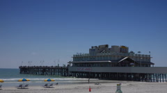 Daytona beach pier and restaurant Stock Footage