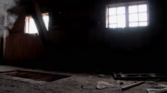 smoke in abandoned house - stock footage