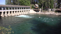 4k clip of water flowing through the dam at Lake Tahoe in California Stock Footage