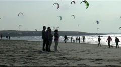 Beachfun on the Brouwersdam - stock footage
